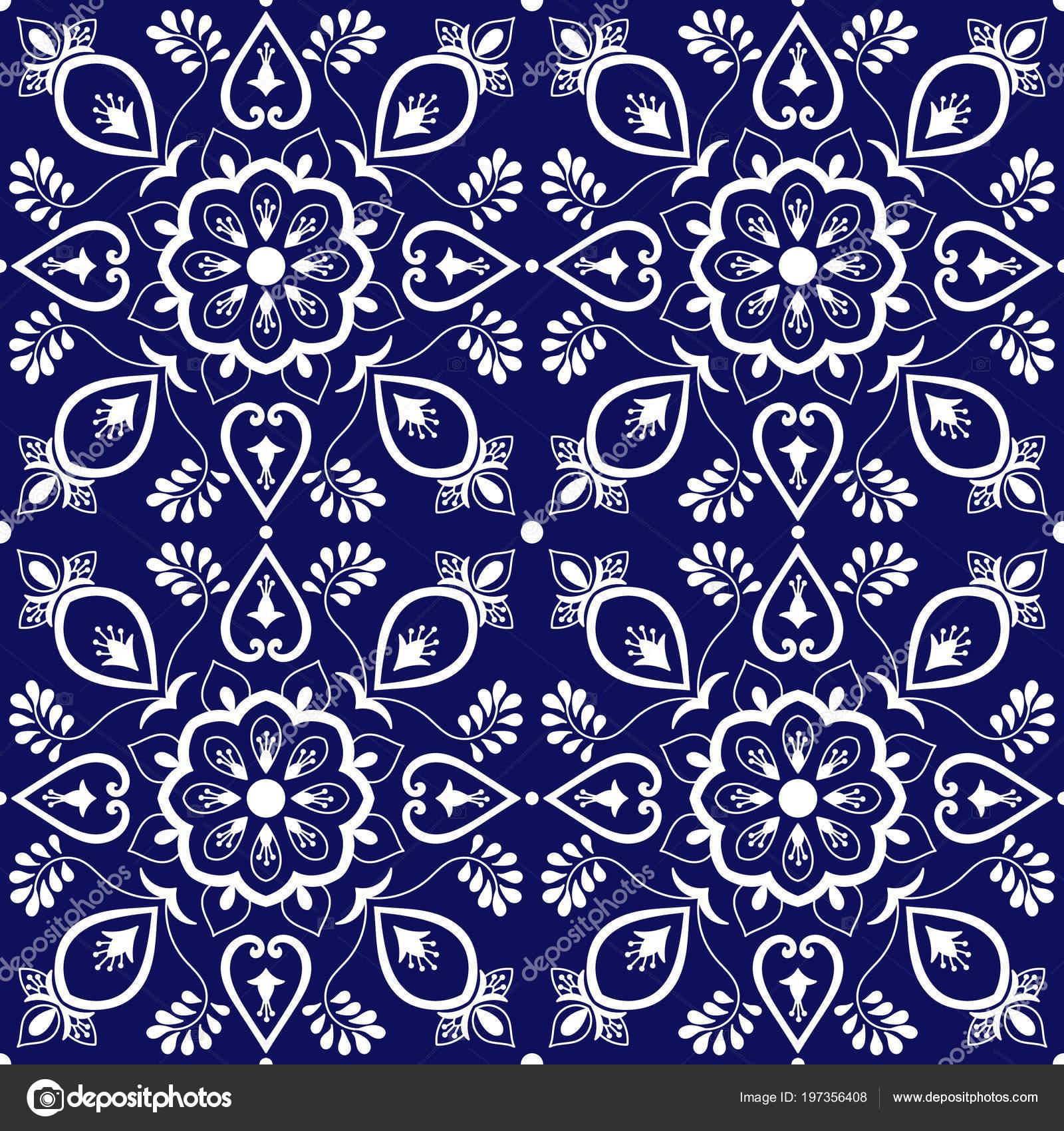 Behang Met Portugese Tegel: Tegel Mexicaanse Patroon Vector Met Blauwe Witte