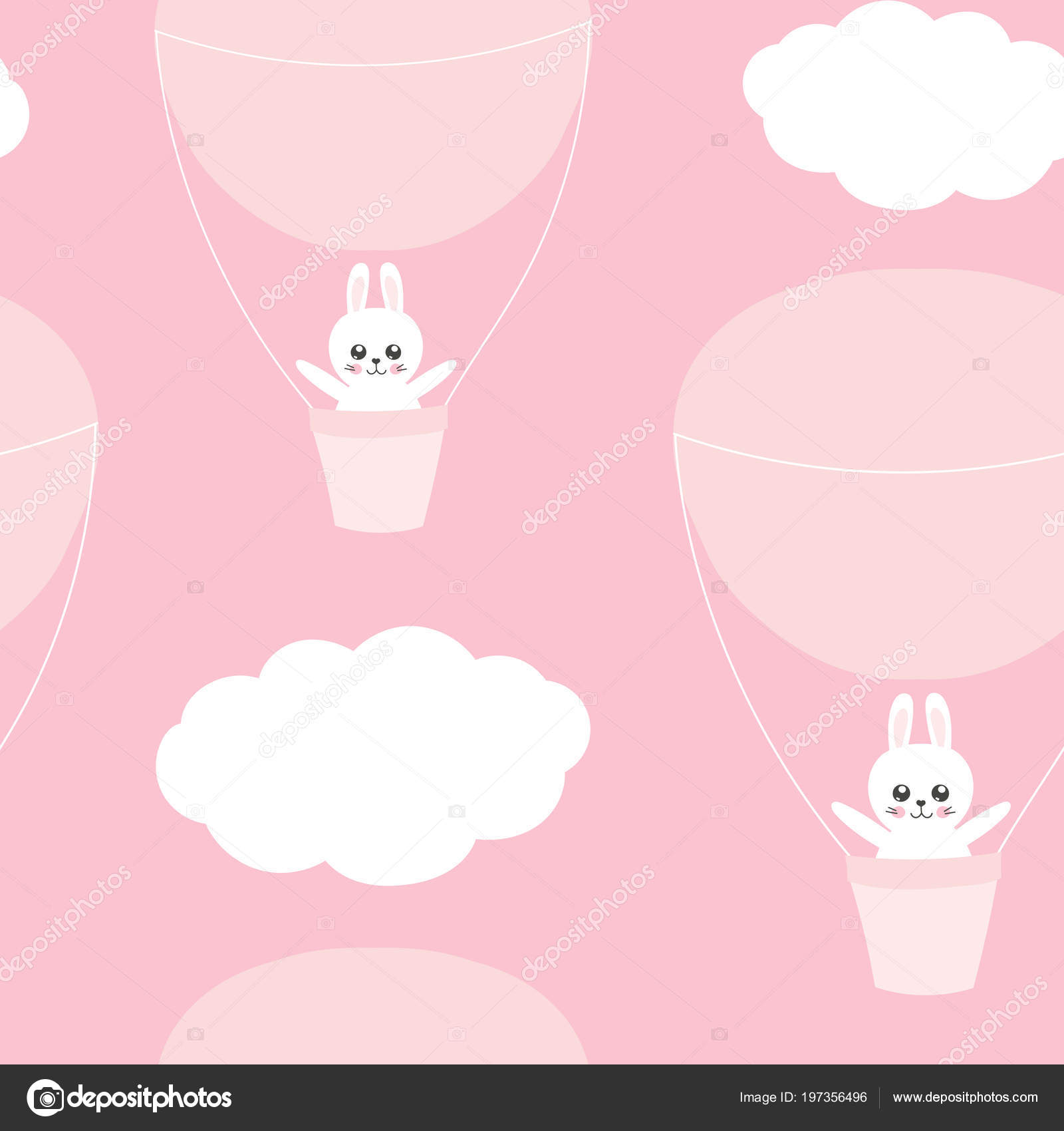Cute Baby Pattern With Little Bunny Cartoon Animal Girl Print
