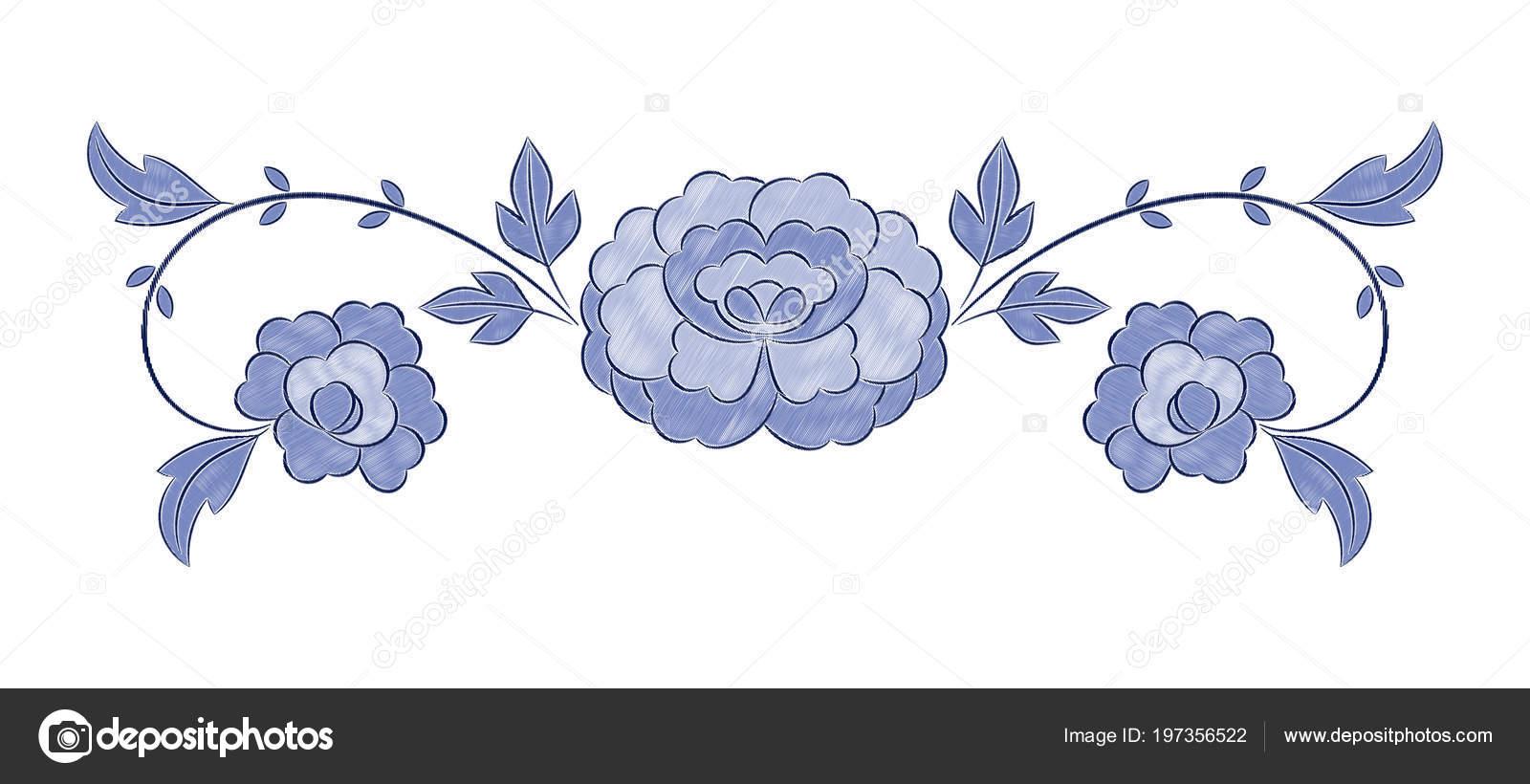 Vector Patrón Bordado Flores Vintage Invierno Azul Peonía Ornamento ...