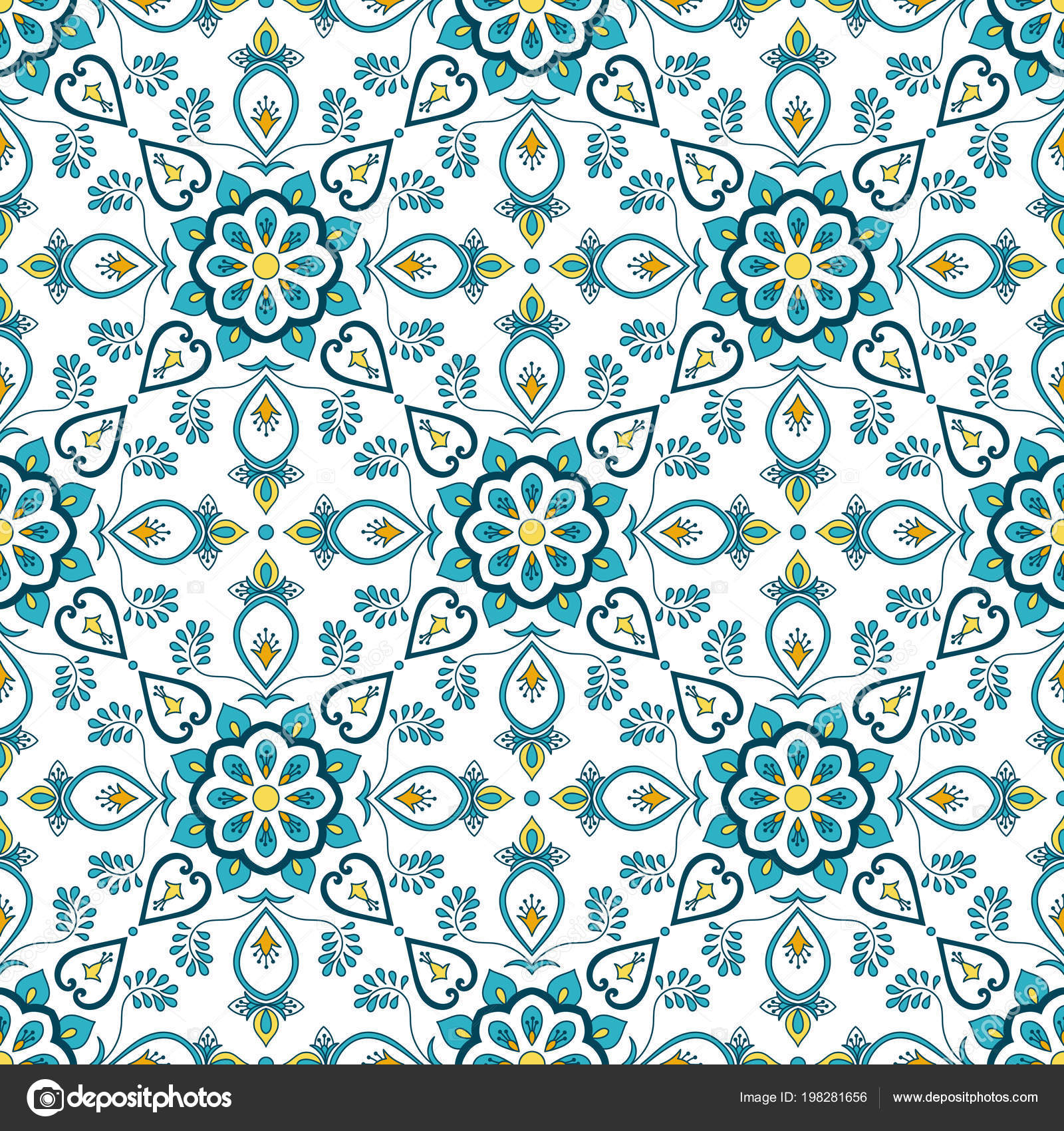Portugiesische Fliesen Muster Vektor Nahtlos Mit Blumenornamente - Portugiesische fliesen küche