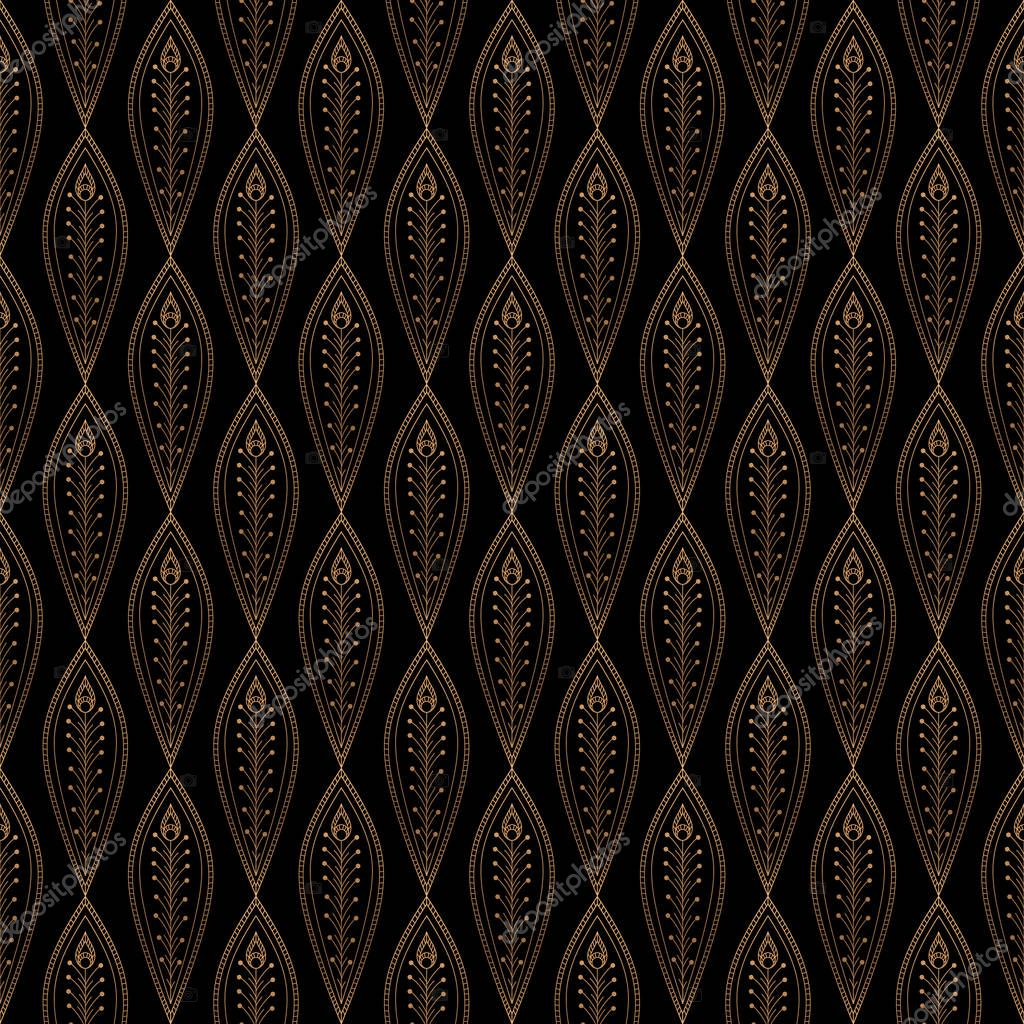 Peacock Feathers Royal Pattern Seamless Gold Black Design For Yoga Wallpaper