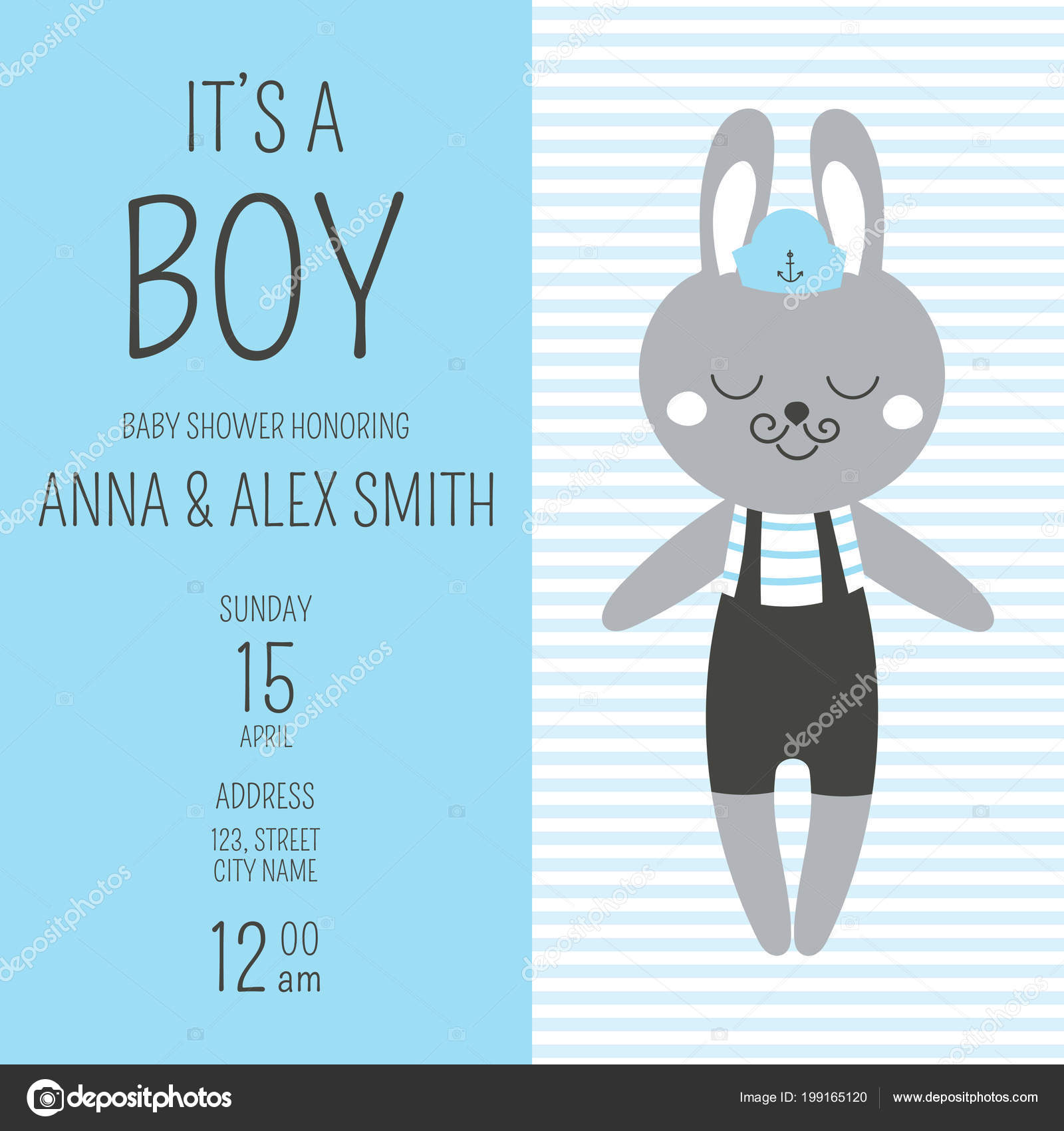 Printable Nautical Baby Shower Invitations Templates Cute