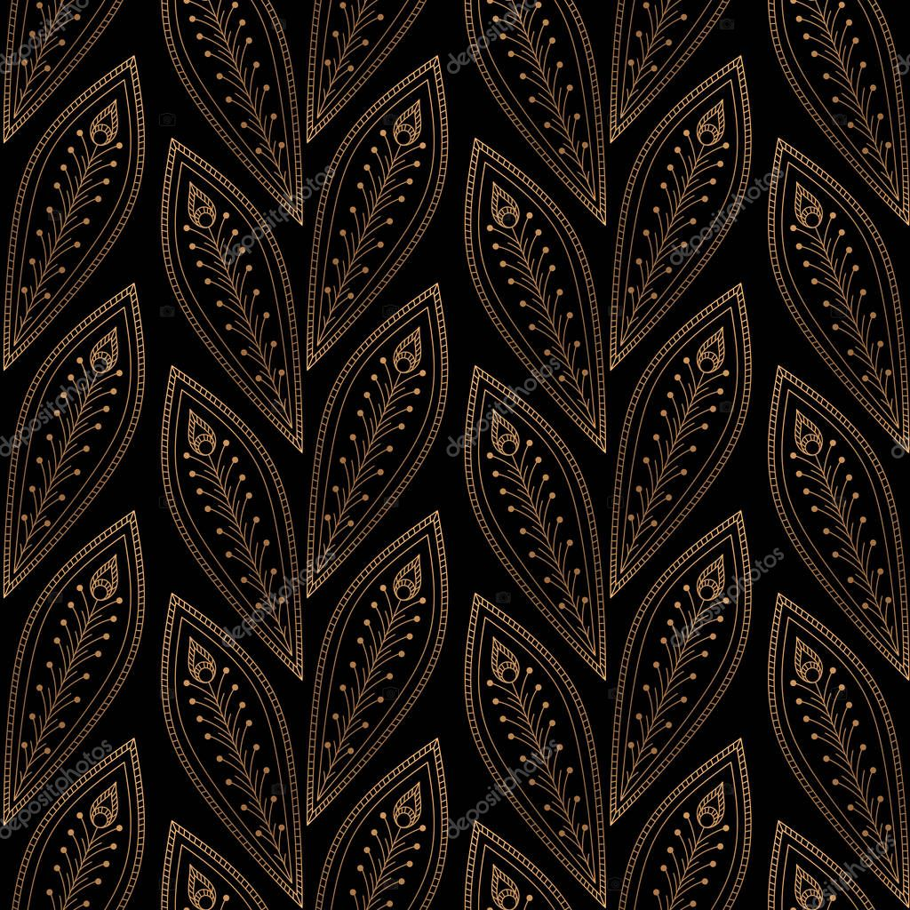Peacock Feathers Royal Pattern Seamless Gold Black Vintage Design For Yoga
