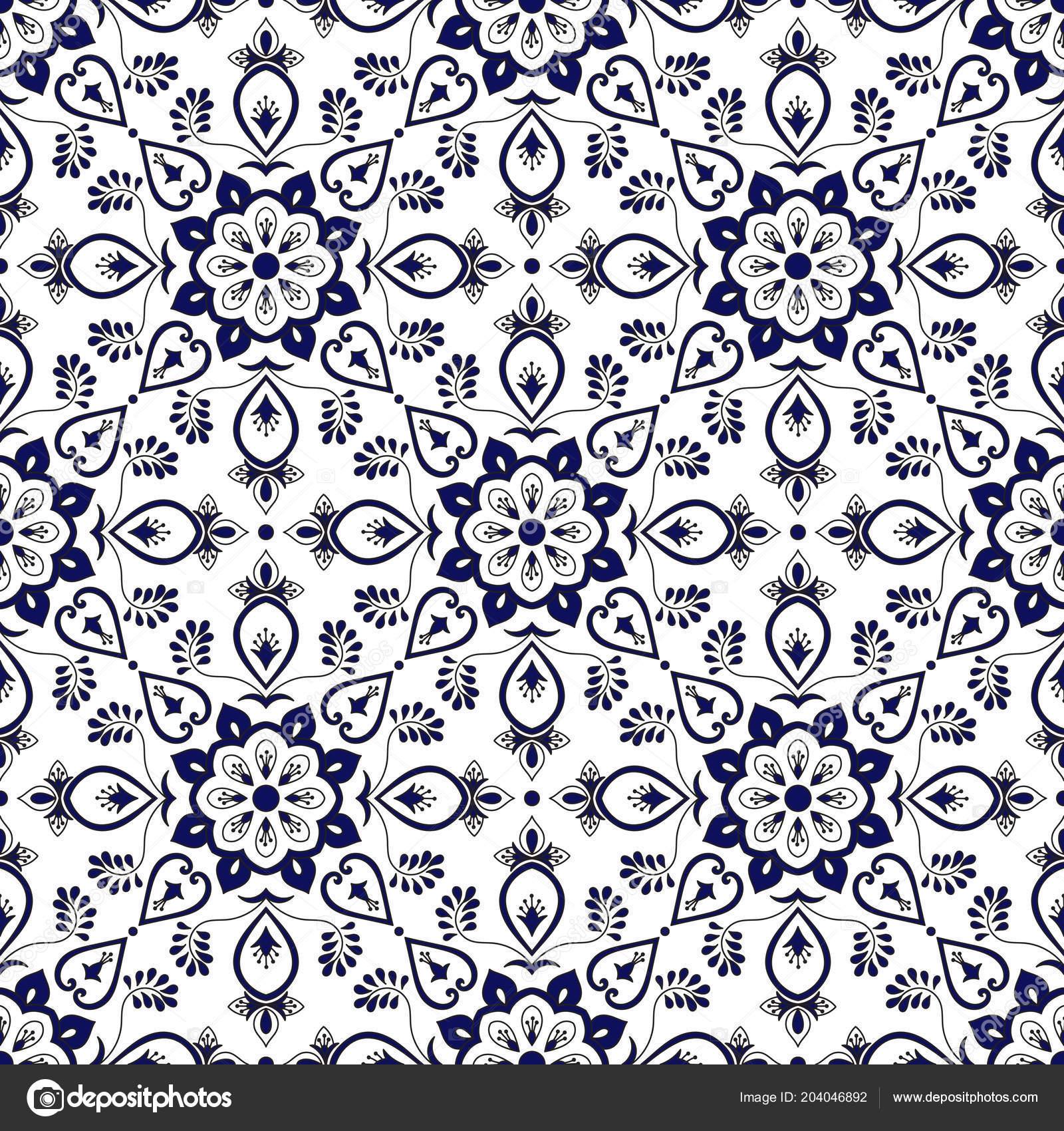 Spanish Tile Pattern Vector Blue White Ornaments Portuguese Azulejo ...
