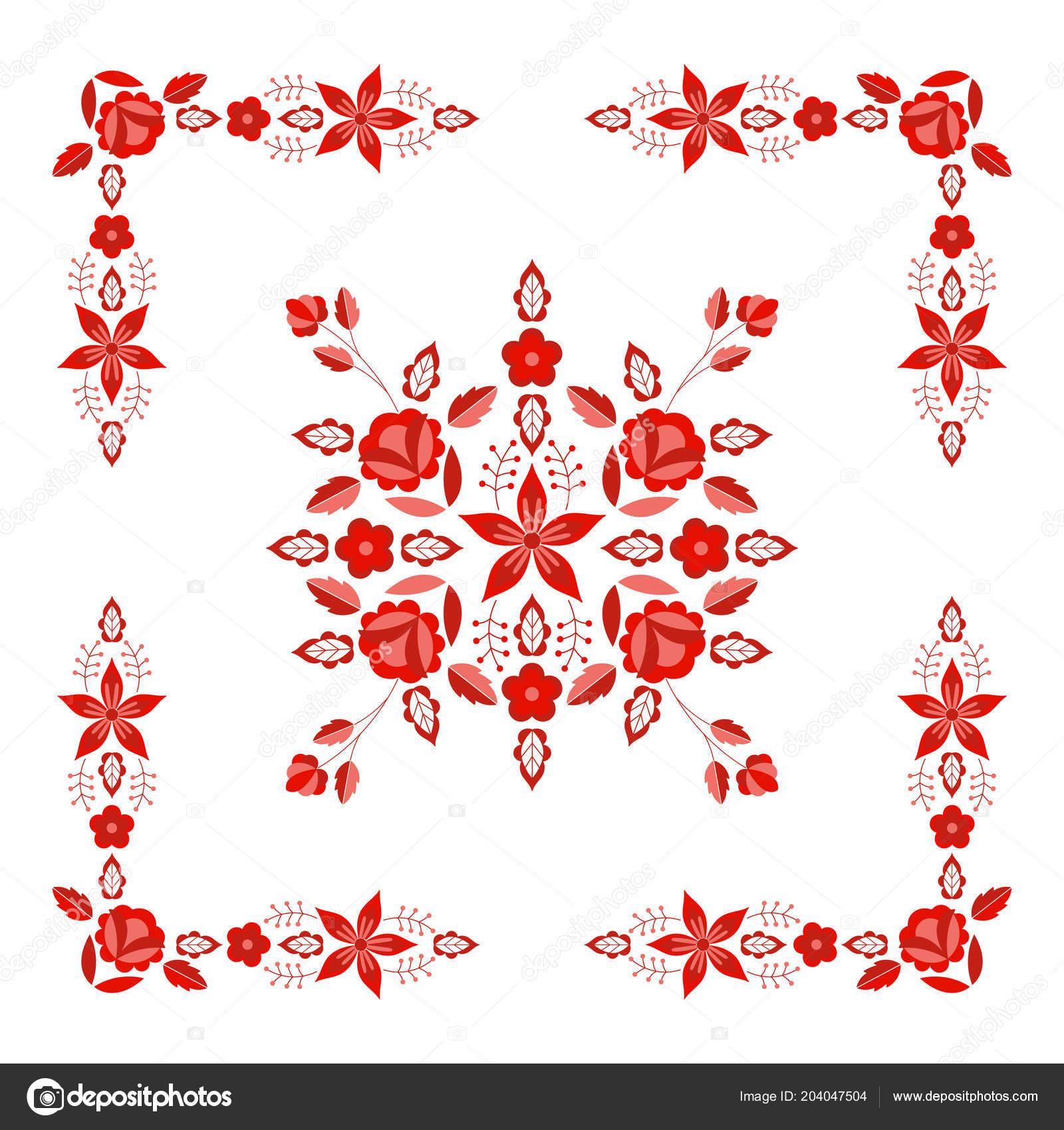 Vector Patrón Popular Polaco Ornamento Floral Étnico Imprimir Europa ...