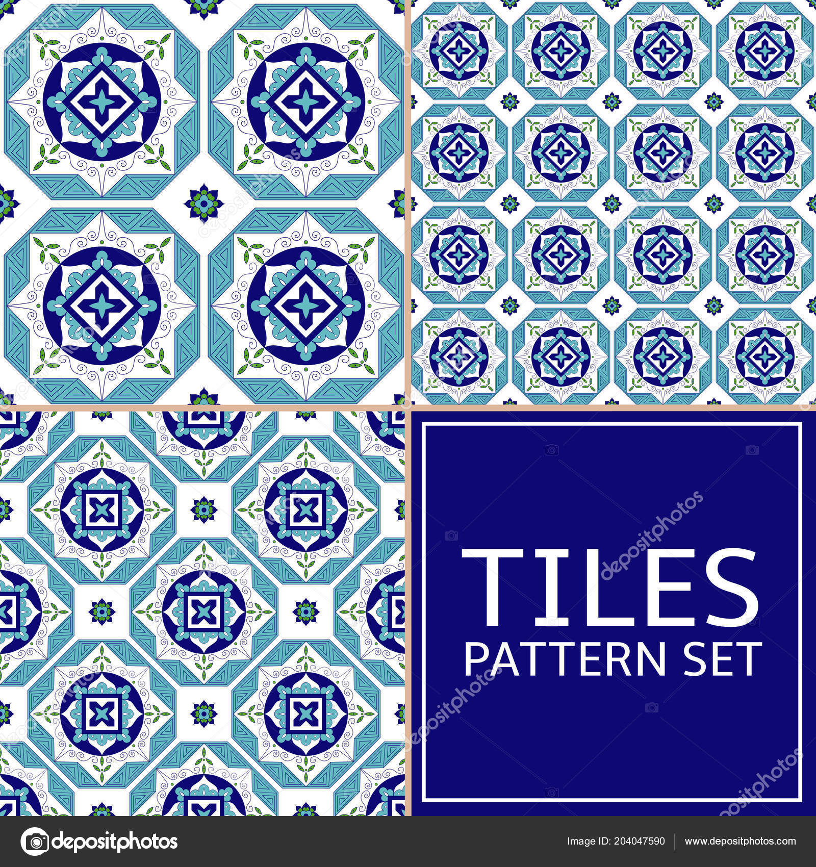 Collection Floor Tile Pattern Vector Seamless Azulejo Portuguese ...