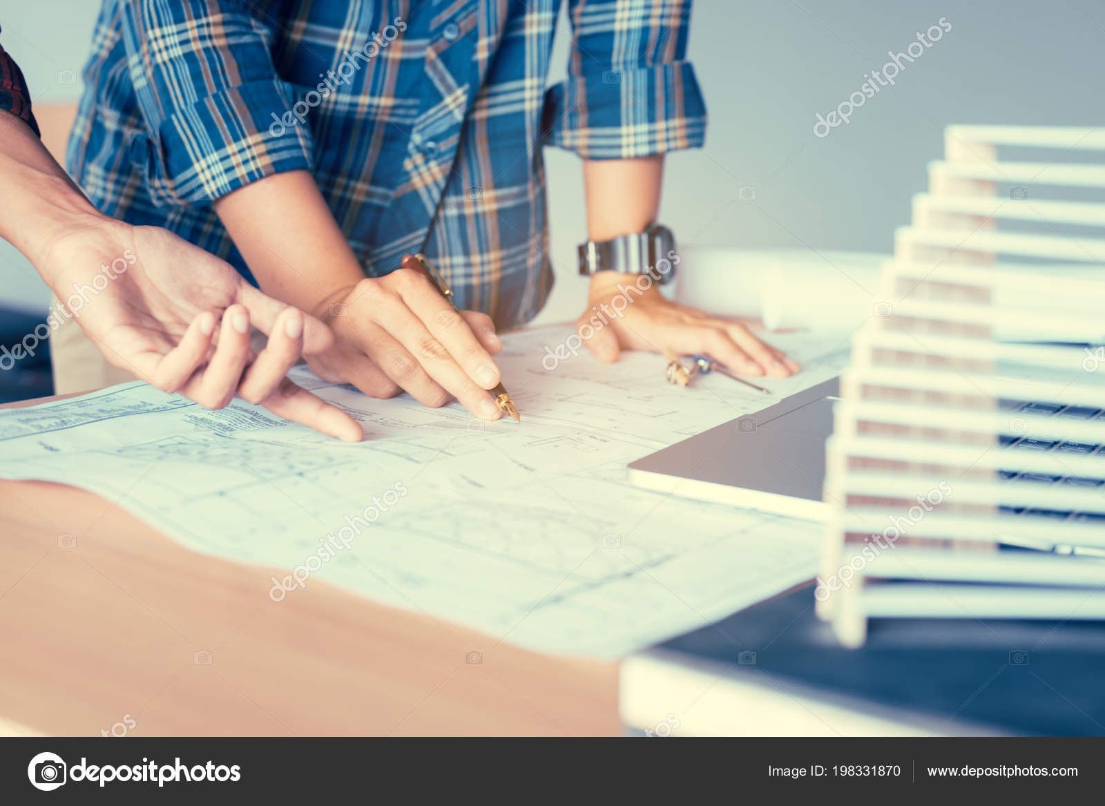 Startup man architects talking structure blueprint paper stock startup man architects talking structure blueprint paper stock photo malvernweather Images
