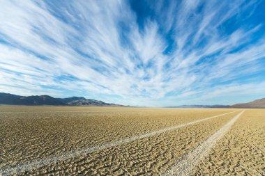 Tire tracks running across the black rock desert playa