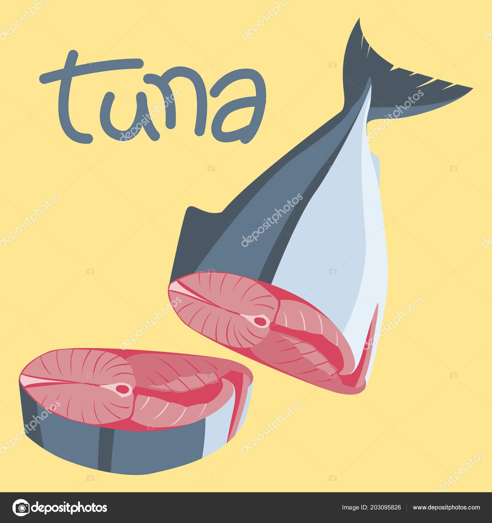 Illustrazione Di Vettore Di Un Bistecca Carne Di Tonno Pesce Piatto