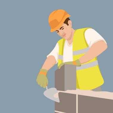 Worker build brick wall.  vector illustration flat