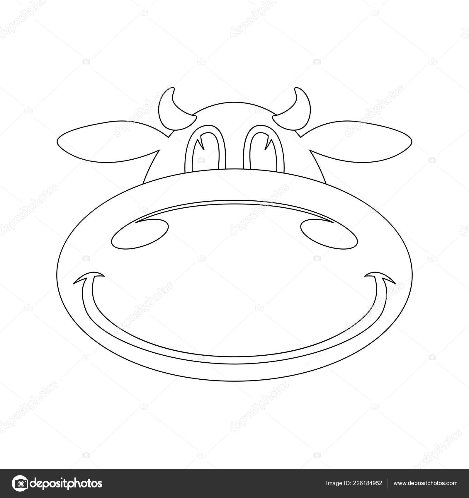 Cartoon Cow Face Lining Draw Front View Vector Stock Vector