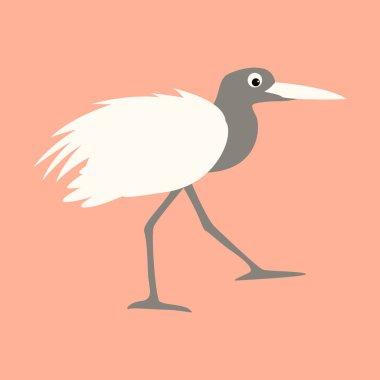 cartoon heron ,vector illustration, profile