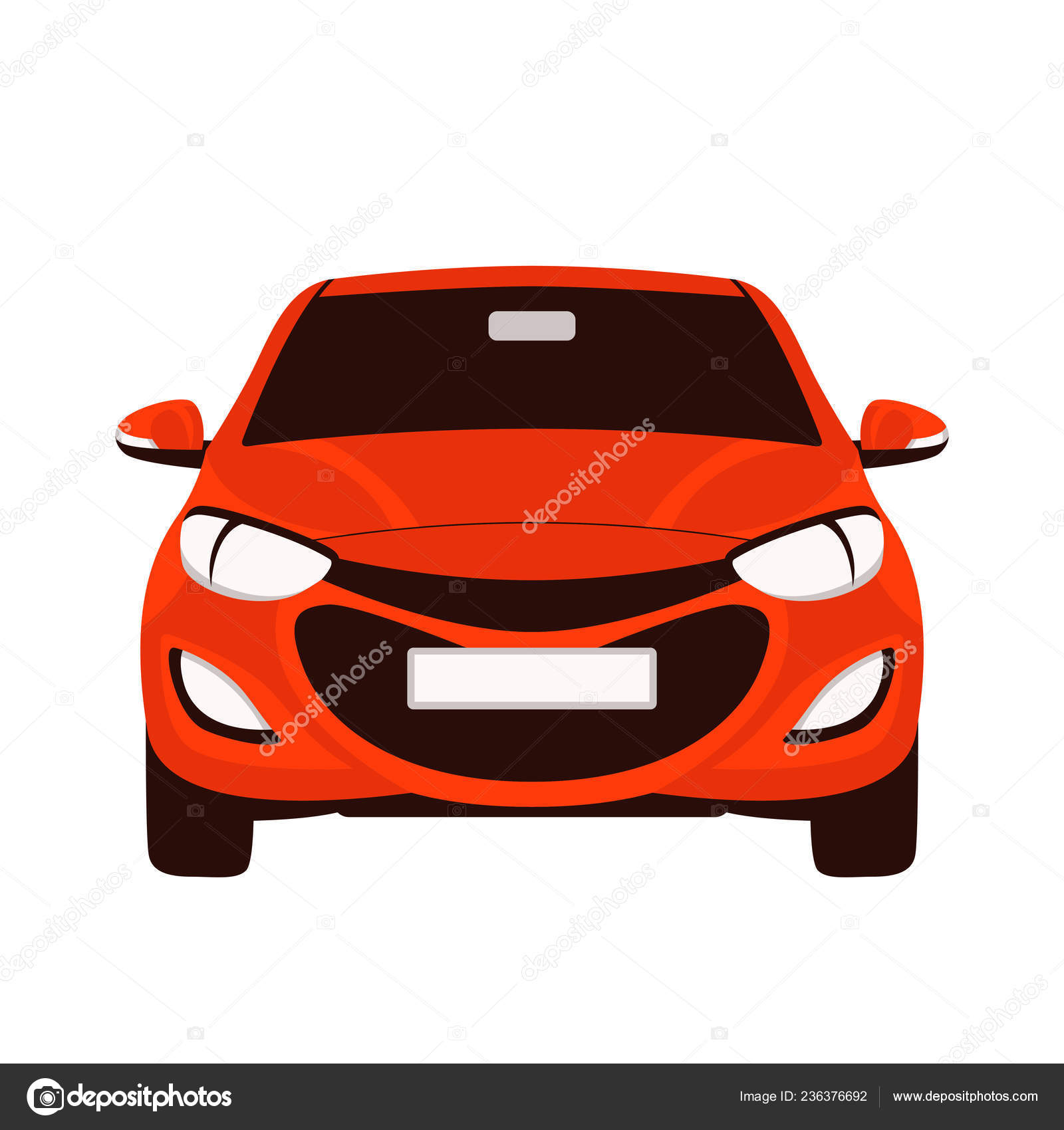 Red Car Vector Illustration Flat Style Front Stock Vector