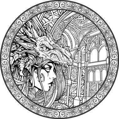Goth girl, wearing a dragon mask