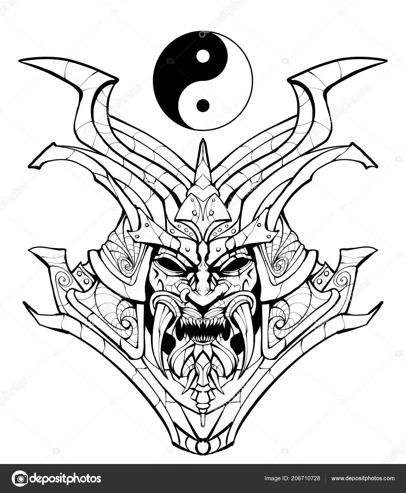 Coloring Page Adults Sinister Samurai Mask Stock Photo