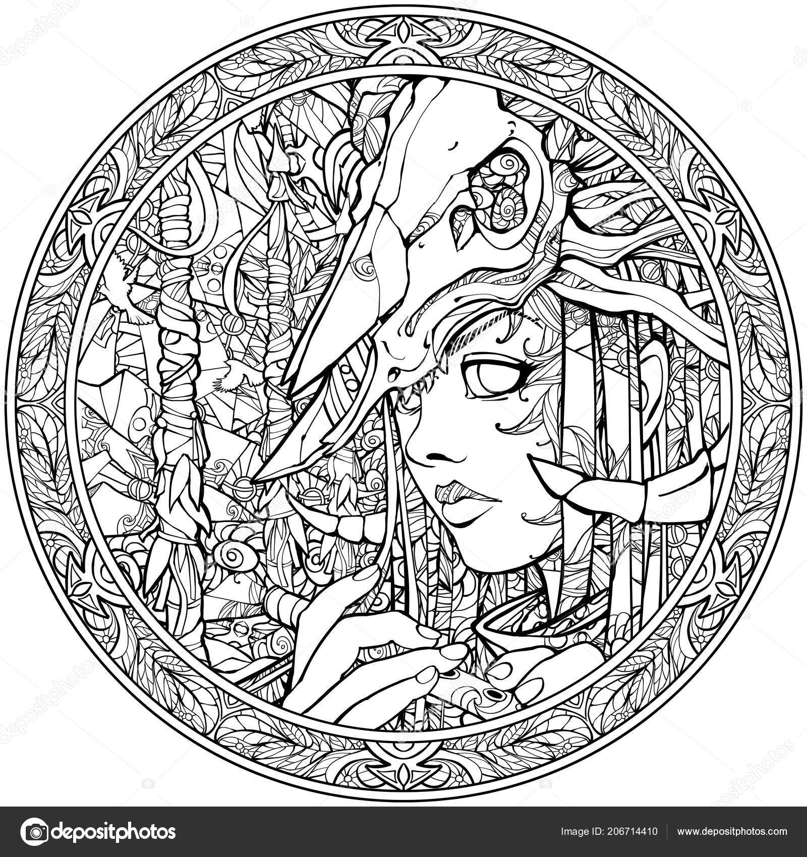 Antistress coloring page with halloween evil skull | 1699x1600
