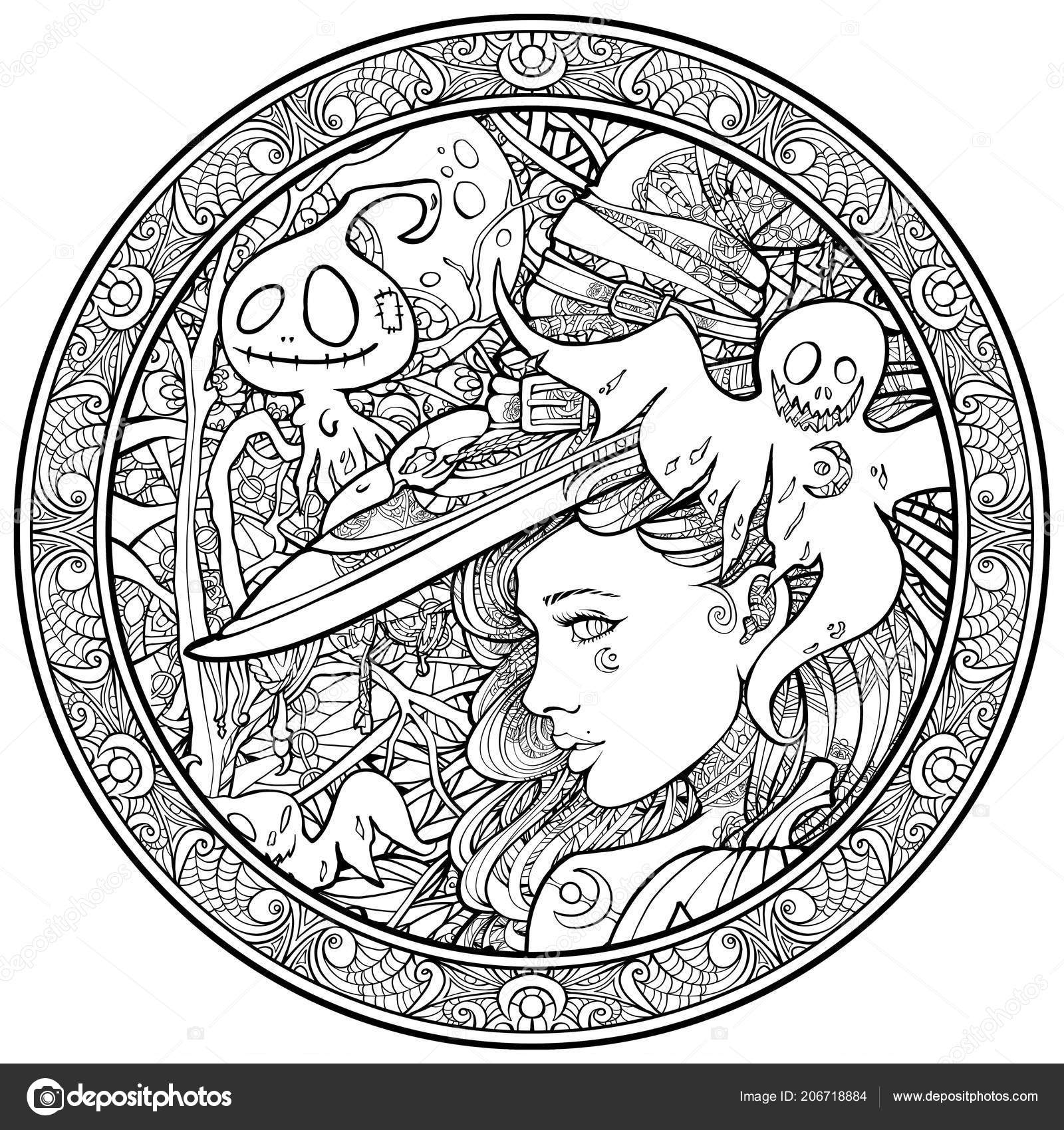 Coloring Page Adults Witch Surrounded Ghosts — Stock Photo ...