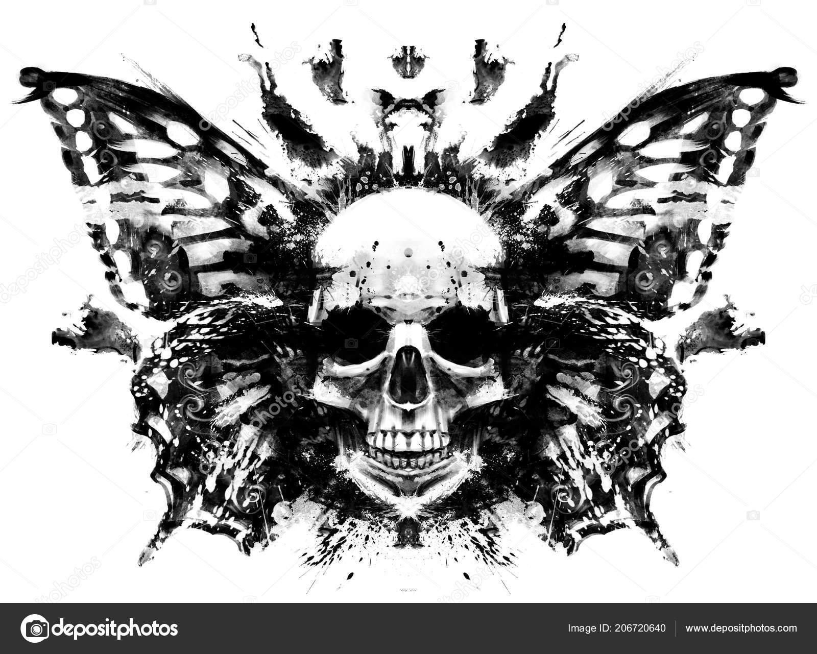demon skull butterfly wings stock photo warmtail 206720640