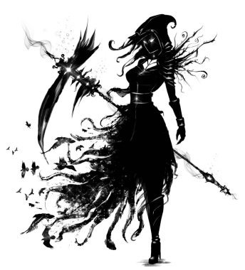 Female necromancer with a huge scythe