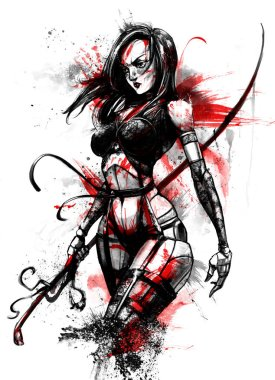 Yakuza girl in blood with a katana