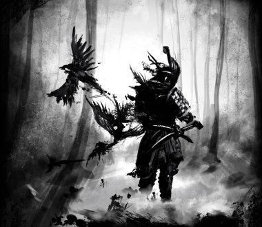 Ronin stands in the woods with his hand on his sword