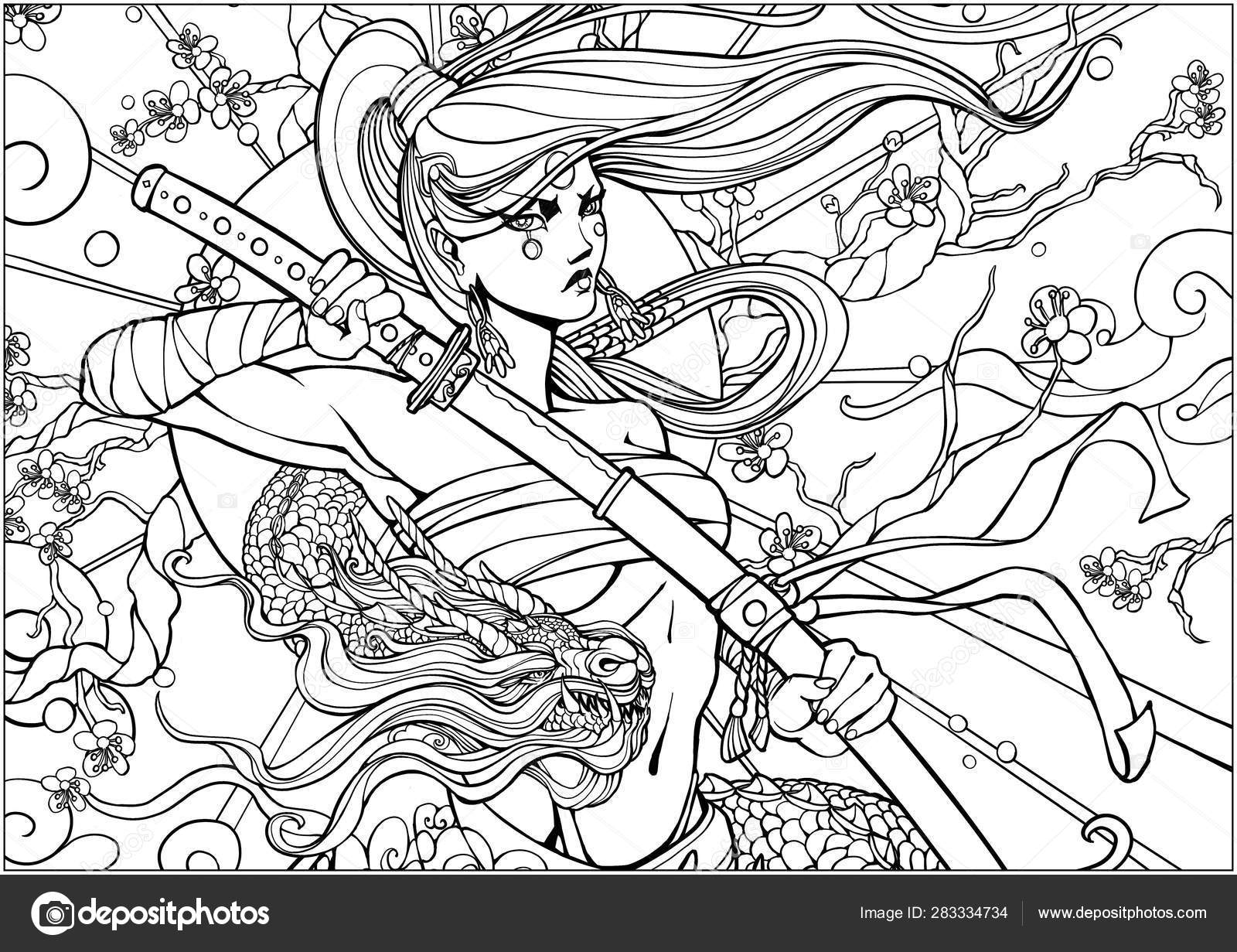 Coloring Page Adults Female Samurai Katana Dragon Twining Her