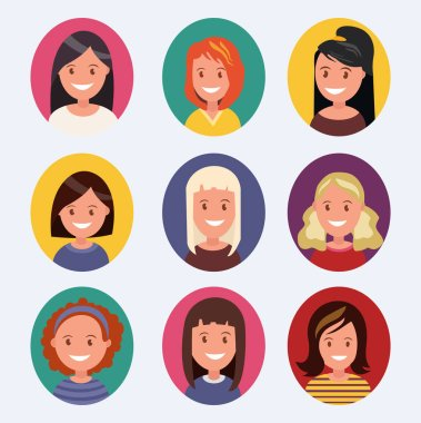 A set of female avatars with different hairstyles. Vector illustration stock vector