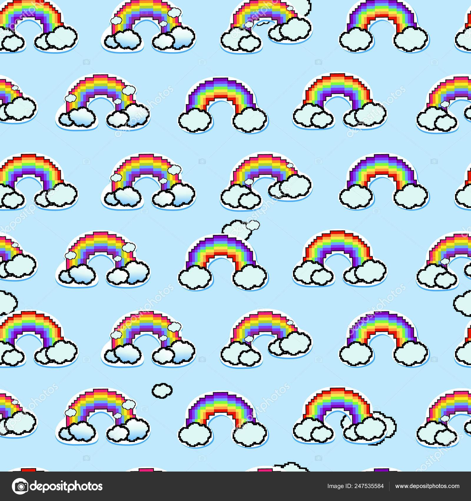 Modèle Sans Soudure Arc Ciel Arc Ciel Nuages Icône Pixel