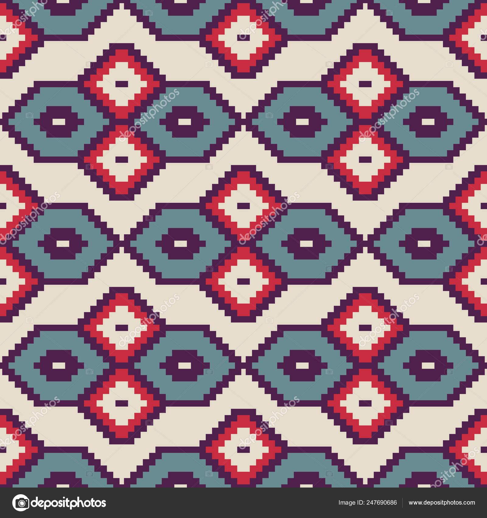 Seamless Decorative Ethnic Pattern Pixel Art Style Bit Designs