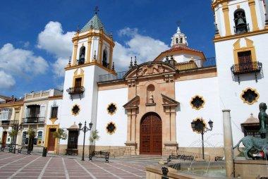 RONDA, SPAIN - MAY 13, 2008 - View of the Socorro Parish church in the Plaza del Socorro, Ronda, Malaga Province, Andalucia, Spain, Europe, May 13, 2008.