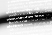 Fotografie elektromotorische Kraft Wort in einem Wörterbuch. elektromotorische Kraft-Konzept