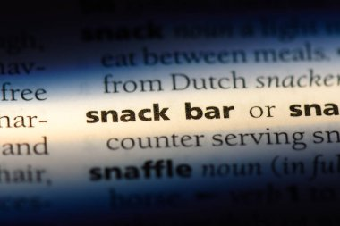 snack bar word in a dictionary. snack bar concept.