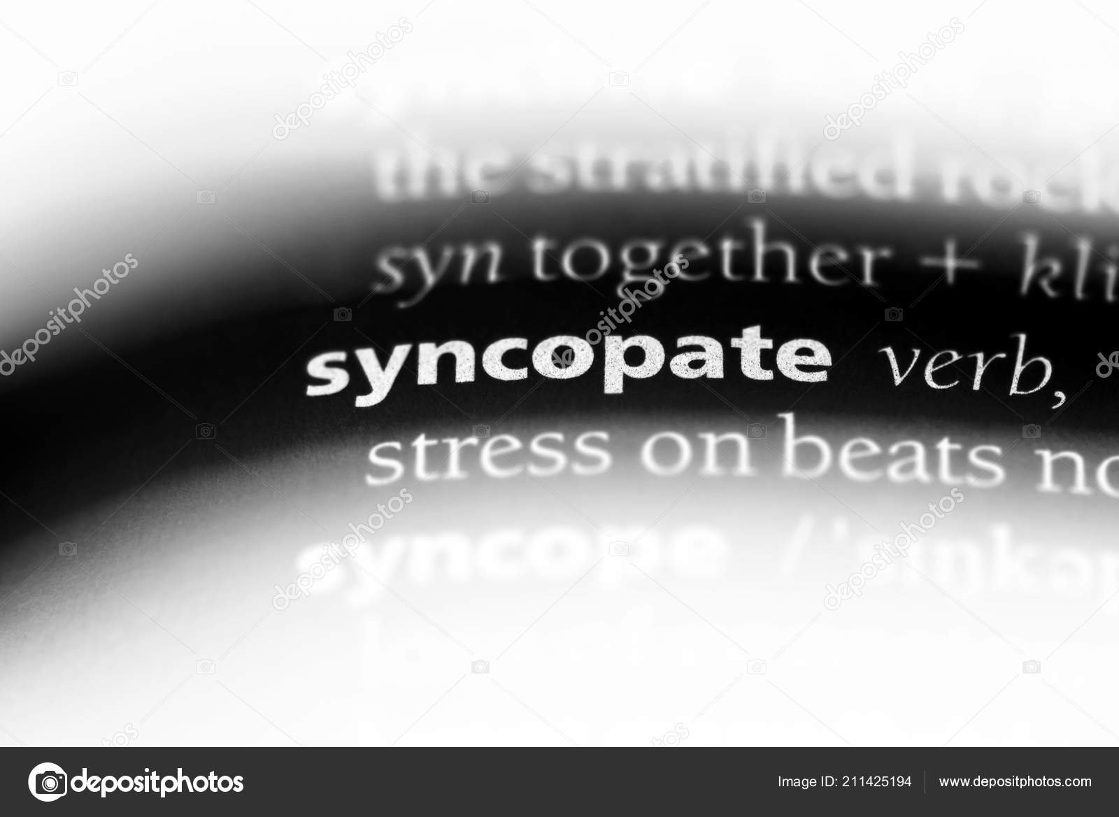 Syncopate Word Dictionary Syncopate Concept — Stock Photo