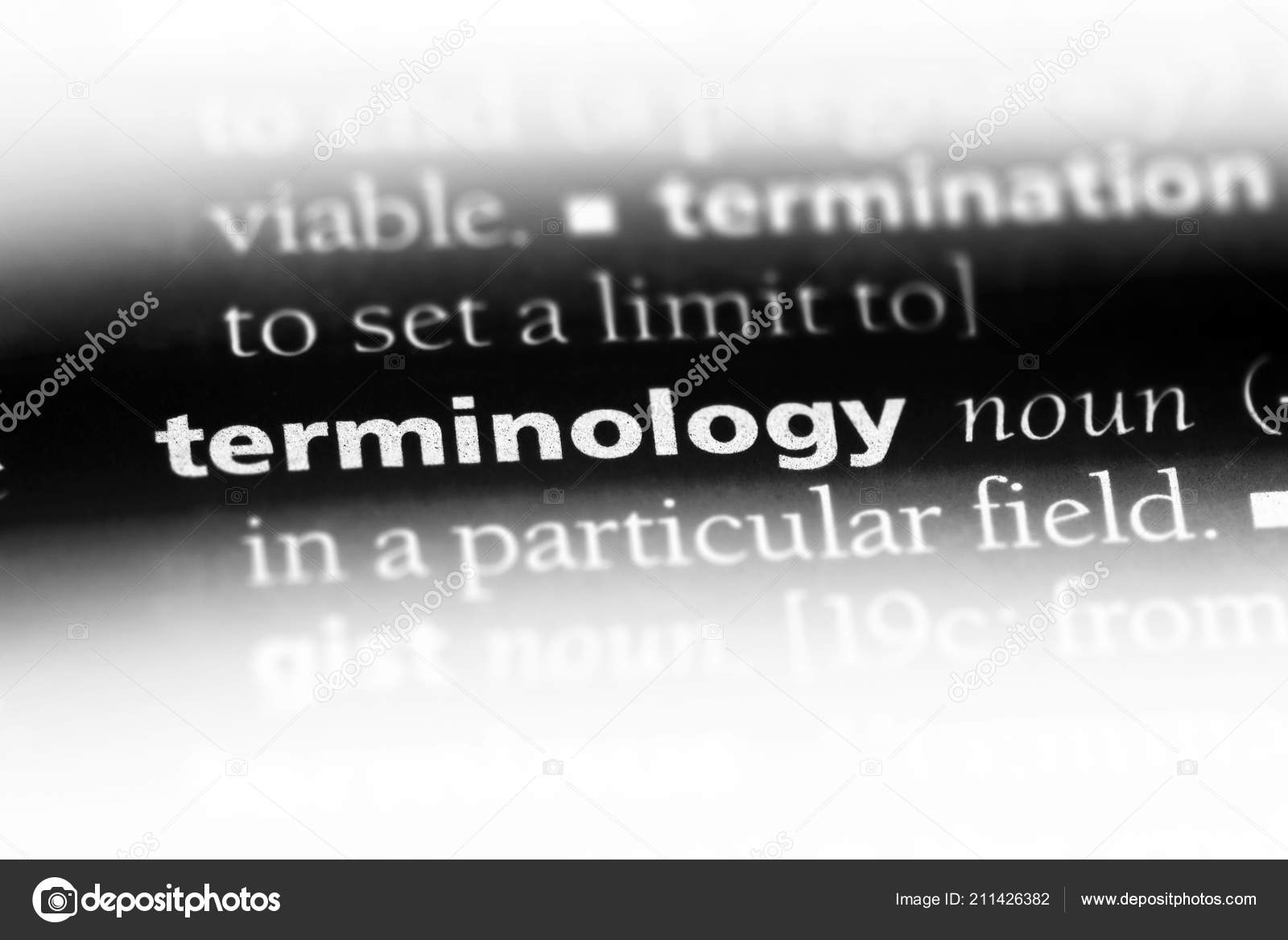 Terminology word dictionary terminology concept stock photo