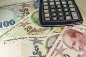 Detailní záběr turecké liry bankovky a mince v circulaton