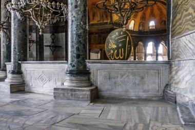 sultanahmet,istanbul,turkey-augut 3,2019.interior view from hagia sophia museum in istanbul