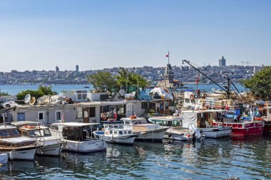 uskudar,istanbul,turkey-august 10,2019.city view from uskudar with boats in istanbul in summer season.