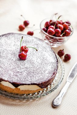 Bird's Milk souffle cake, covered with chocolate glaze and icing and decorated with ripe juicy cherries