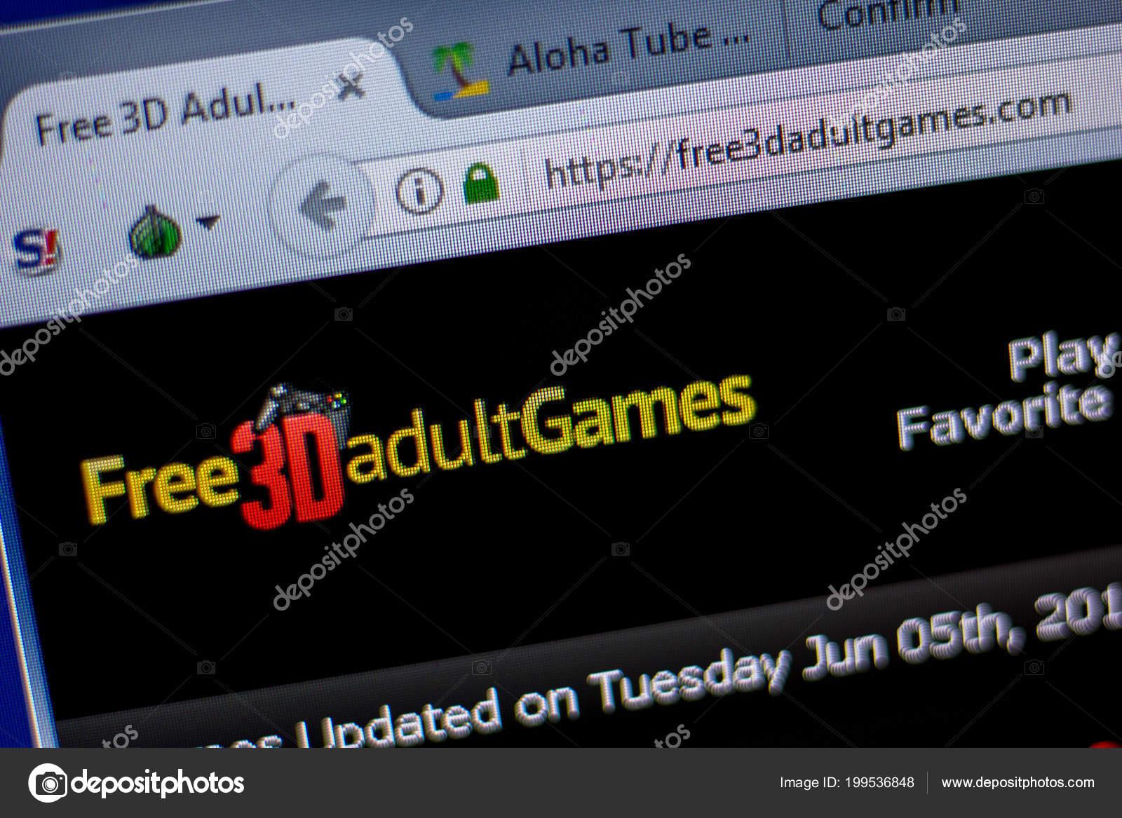 Ryazan Russia June 2018 Homepage Free3Dadultgames Website Display Url  Free3Dadultgames — Stock Photo