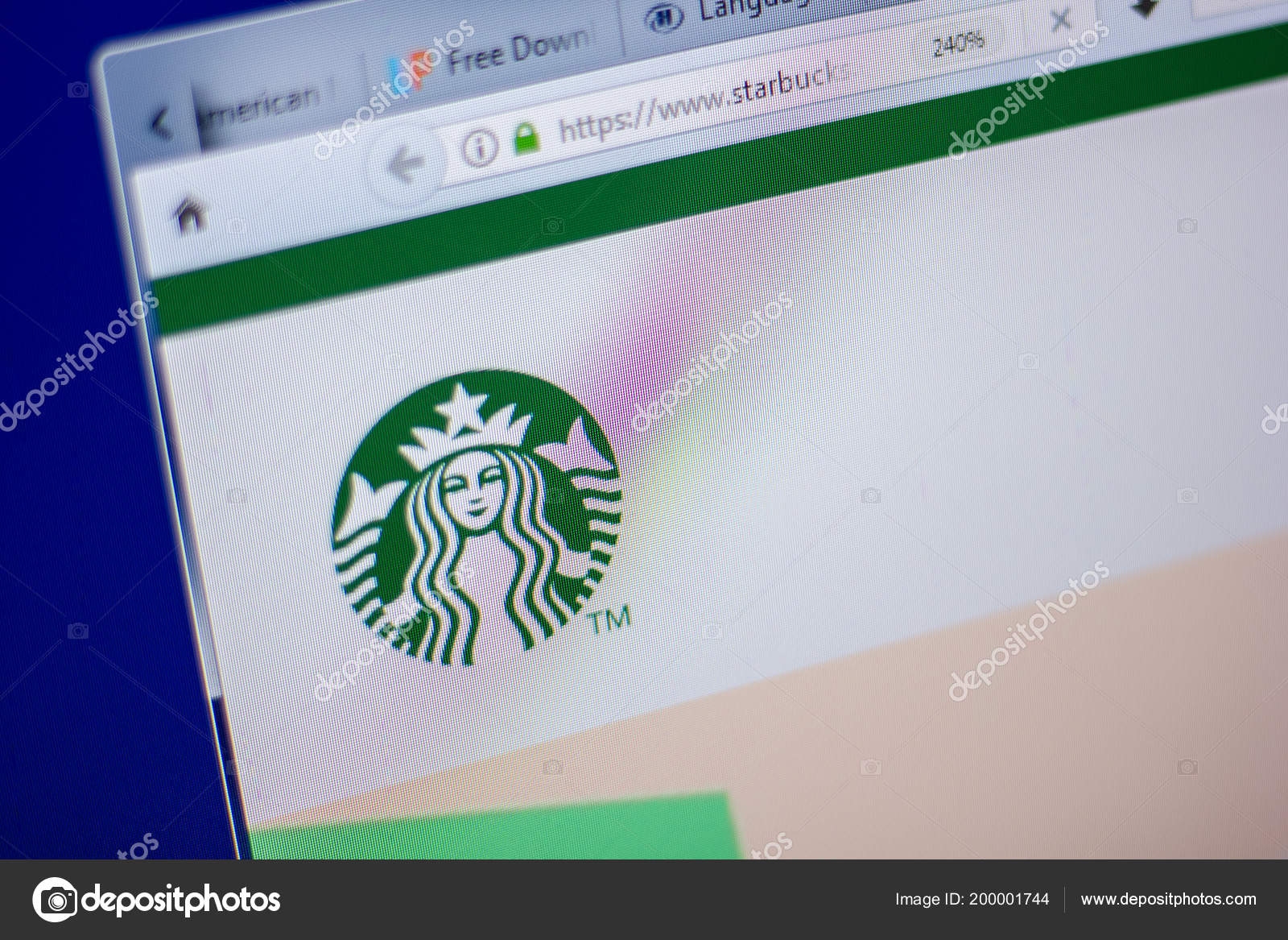 Ryazan Russia June 2018 Homepage Starbucks Website Display Url