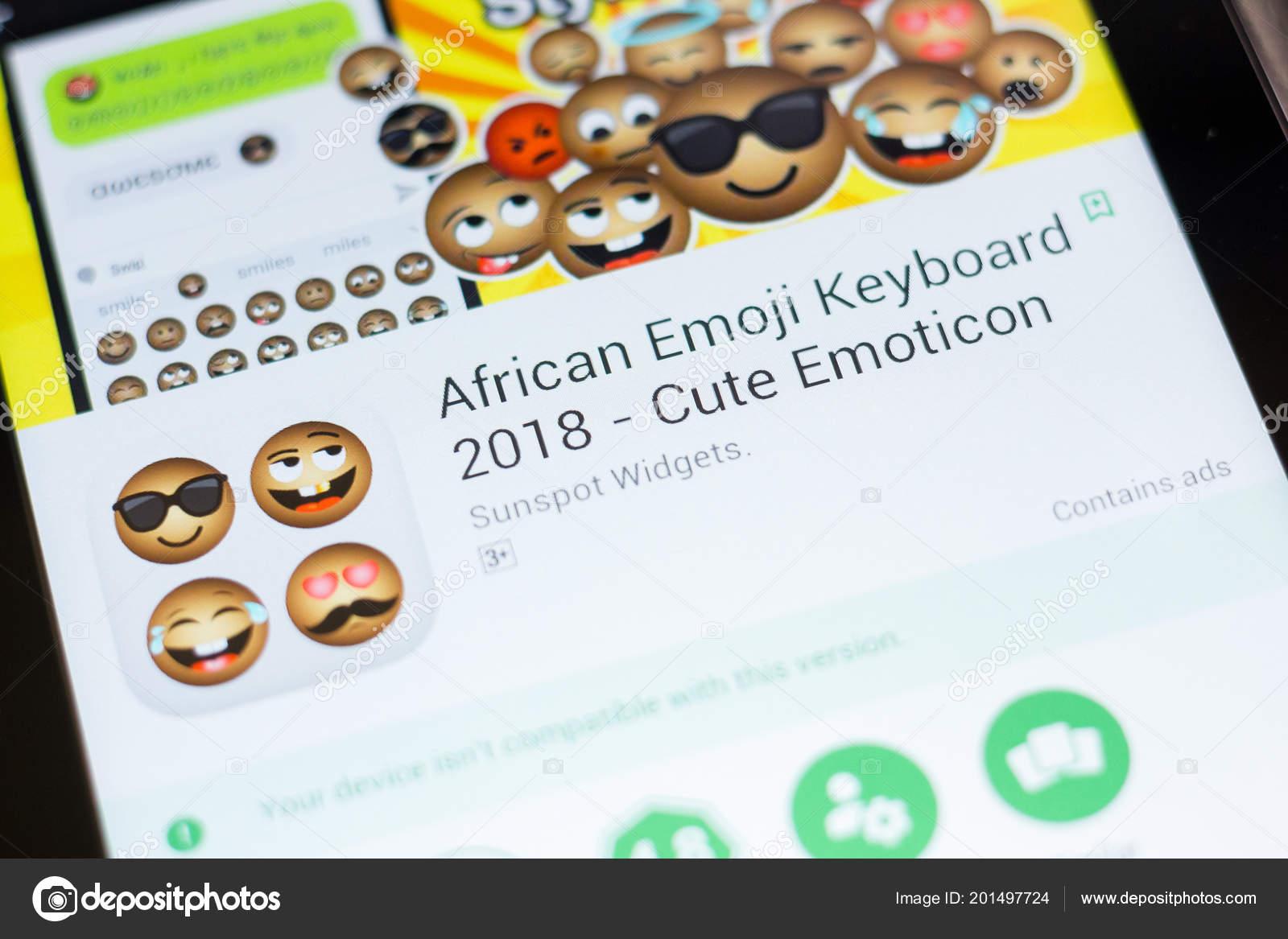 Ryazan Russia June 2018 African Emoji Keyboard Mobile App