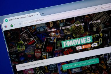 Ryazan, Russia - June 26, 2018: Homepage of Fmovies website on the display of PC. URL - Fmovies.ac stock vector