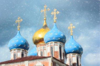 Illustration of bows of Ryazan church under the thunderstorm clouds kremlin of Ryazan, Russia