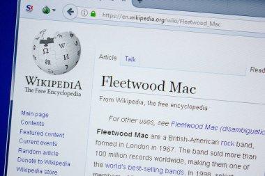 Ryazan, Russia - July 09, 2018: Page on Wikipedia about Fleetwood Mac