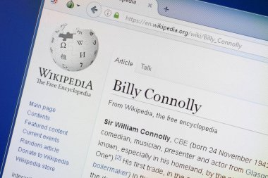 Ryazan, Russia - August 19, 2018: Wikipedia page about Billy Connolly on the display of PC