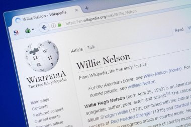 Ryazan, Russia - August 19, 2018: Wikipedia page about Willie Nelson on the display of PC
