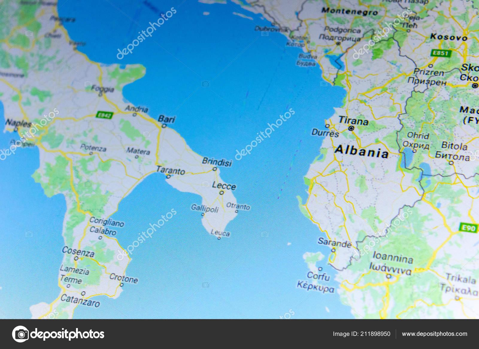 Google Map Of Russia.Ryazan Russia July 2018 Country Albania Google Maps Service Stock