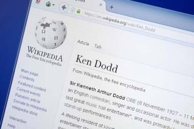 Ryazan, Russia - August 19, 2018: Wikipedia page about Ken Dodd on the display of PC