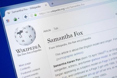 Ryazan, Russia - August 19, 2018: Wikipedia page about Samantha Fox on the display of PC