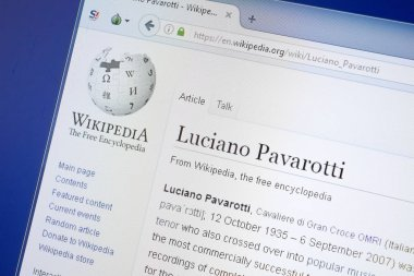 Ryazan, Russia - August 19, 2018: Wikipedia page about Luciano Pavarotti on the display of PC